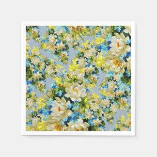 Vintage Geel en Blauw BloemenPatroon Papieren Servetten
