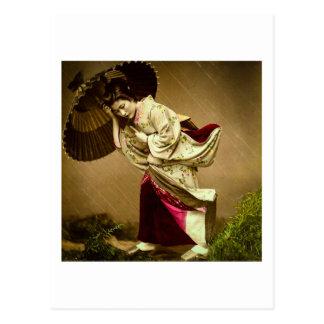 Vintage Geisha in een Glasplaatje van de Regen van Briefkaart