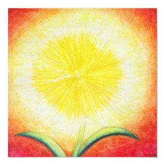 vintage gele bloem die als een zon glanzen 13,3x13,3 vierkante uitnodiging kaart