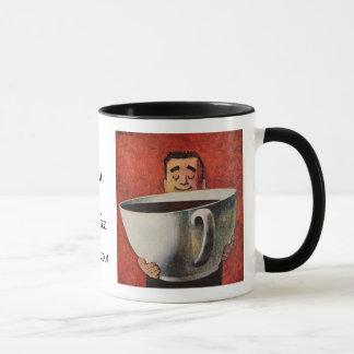 Vintage Gelukkig Man die ReuzeKop van Koffie drink Mok