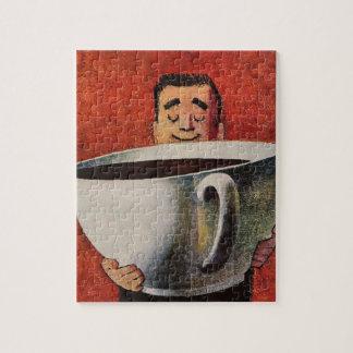 Vintage Gelukkig Man die ReuzeKop van Koffie drink Puzzel