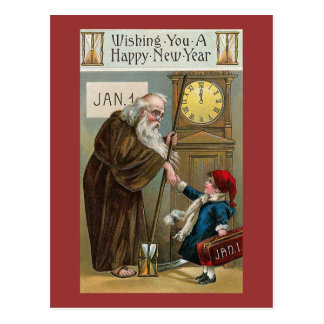 Vintage Gelukkig Nieuwjaar Briefkaart