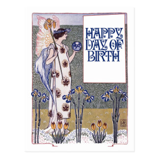 Vintage Gelukkige Verjaardag Briefkaart