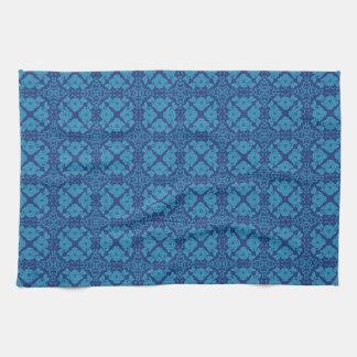 Vintage Geometrisch BloemenBlauw op Blauw Handdoek
