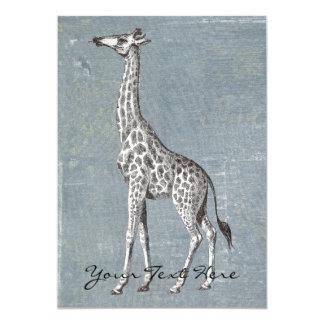 Vintage Giraf 12,7x17,8 Uitnodiging Kaart