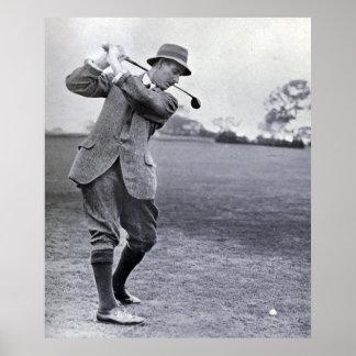 Vintage Golfspeler: Harry Vardon Poster