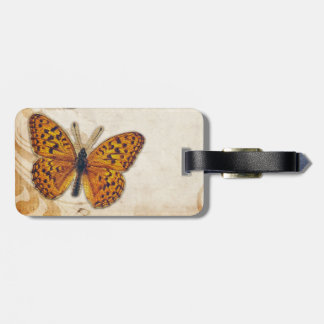 Vintage Gouden Gele Vlinder Kofferlabel