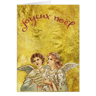 Vintage Gouden het Zingen Engelen Joyeux Noel Wenskaart