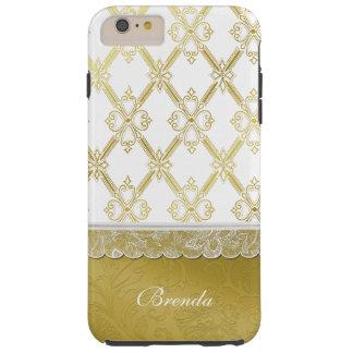 Vintage Gouden & Witte iPhone 6 van het Rooster Tough iPhone 6 Plus Hoesje
