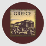Vintage Griekenland Ronde Sticker