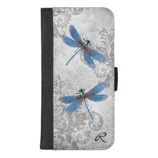 Vintage Grijs Damast Grunge en Libellen iPhone 8/7 Plus Portemonnee Hoesje