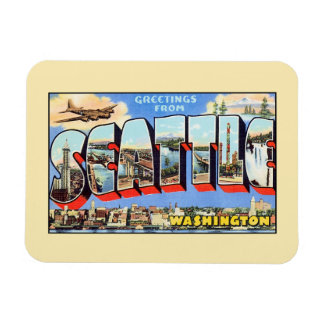 Vintage groeten van Seattle Washington Magneet