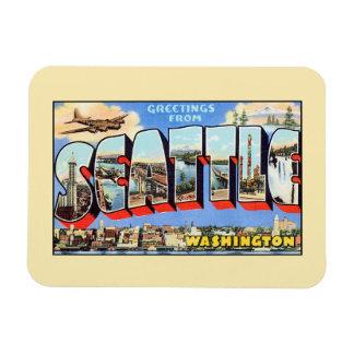 Vintage groeten van Seattle Washington Rechthoekige Magneten