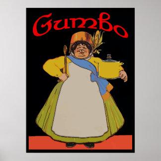 Vintage Gumbo Cook Poster