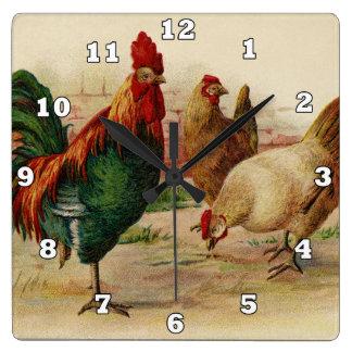 Vintage haan en van het kippenLand muurdecor Vierkante Klok
