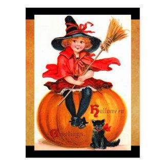 Vintage Halloween Weinig Heks Briefkaart