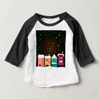 VINTAGE hand-drawn Dorp met Sneeuw Baby T Shirts