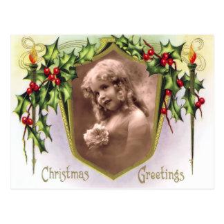 Vintage Heilige Kerstmis en het Briefkaart van