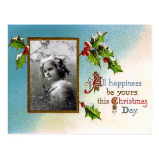 Vintage Heilige Kerstmis en het Briefkaart van de