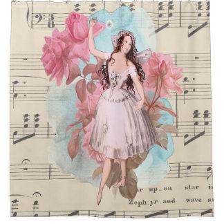 Vintage het Dansen van de Ballerina van de Fee Douchegordijn