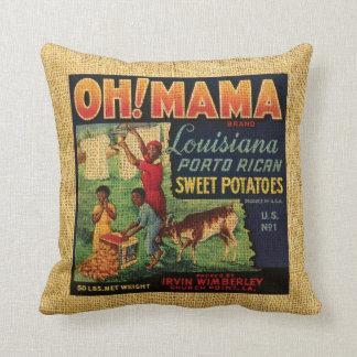 Vintage het etiketOh van het Voedsel Mamma's en Sierkussen