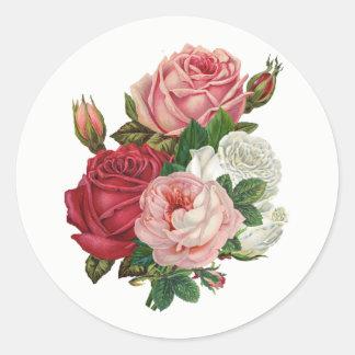 Vintage het roos-Wit van de Kool Achtergrond Ronde Sticker