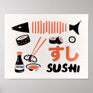 Vintage het tekenposter van de sushikeuken poster
