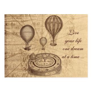 Vintage hete luchtballons - steampunk wens kaart