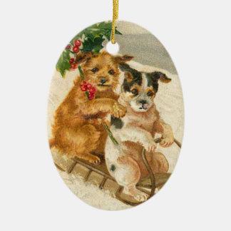 Vintage Honden op een Ornament van Kerstmis van de