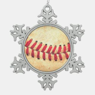 Vintage honkbalbal tin sneeuwvlok ornament