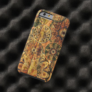 vintage houten bloemen vectorart. tough iPhone 6 hoesje