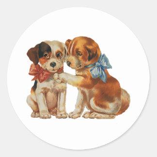 Vintage Huisdieren, het Puppy van de Kalverliefde Ronde Stickers