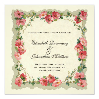 Vintage Huwelijk, de Bloemen Roze Rozen van de 13,3x13,3 Vierkante Uitnodiging Kaart