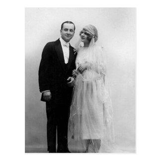 Vintage Huwelijk de Bruid en de Bruidegom Wens Kaart