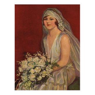 Vintage Huwelijk, het Bruids Portret van de Briefkaart