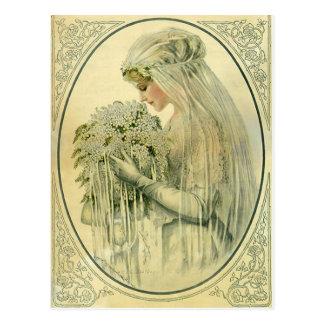 Vintage Huwelijk, het Bruids Portret van de Victor Wens Kaarten