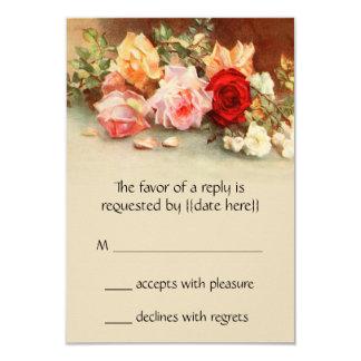 Vintage Huwelijk RSVP, de Antiek Bloemen van Rozen Kaart