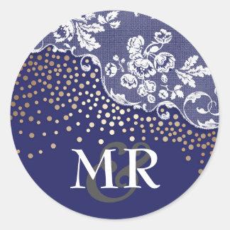 Vintage Huwelijk van de Marine van de Confettien Ronde Sticker