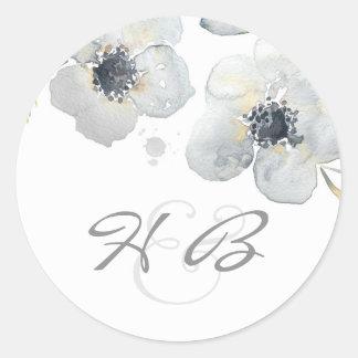 Vintage Huwelijk van de Waterverf van de anemoon Ronde Sticker