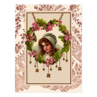 Vintage Iers Meisje Briefkaart