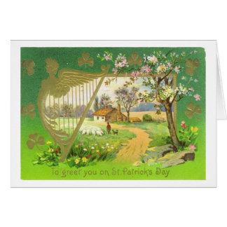 Vintage Ierse St Patrick van de Harp Dag Briefkaarten 0