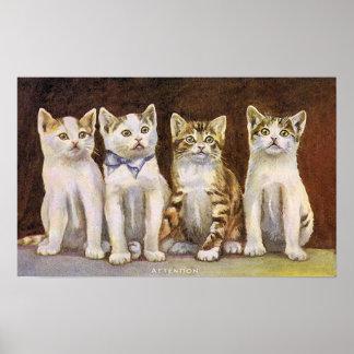 Vintage Illustratie van vier de Leuke Katjes Poster