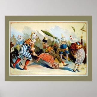 Vintage Illustratie van vijf de Franse Clowns Poster