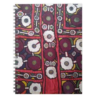 Vintage Indische Met de hand gemaakte TextielDruk Ringband Notitieboek