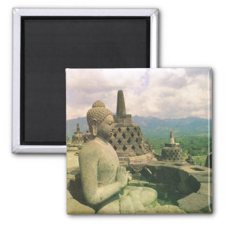 Vintage Indonesië, Boeddhistische tempel Borobodur Vierkante Magneet