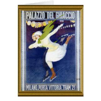 Vintage Italiaans het schaatsen poster Briefkaarten 0