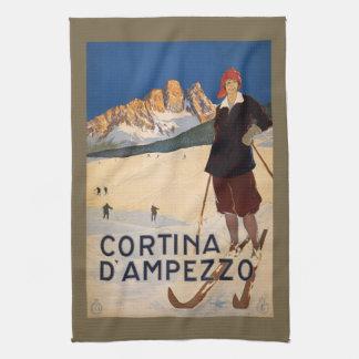 Vintage Italiaanse de handhanddoek van Alpen Theedoek