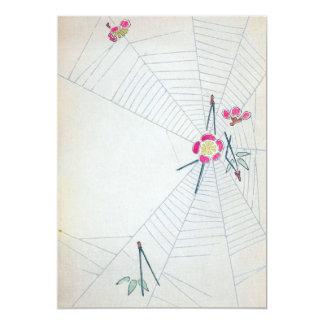 Vintage Japans Fijn Art. 12,7x17,8 Uitnodiging Kaart