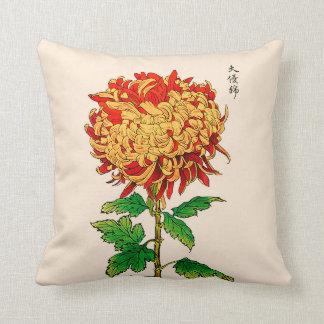 Vintage Japanse Chrysant. Goud en Sinaasappel Sierkussen