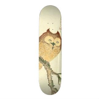 Vintage Japanse Fijne Druk | van de Kunst Uil op Skateboard
